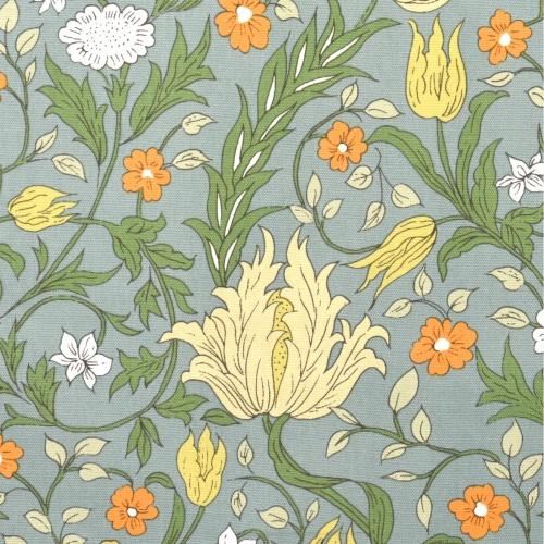 Gordon Smith Wild Tulip Blue/Orange Curtain Fabric