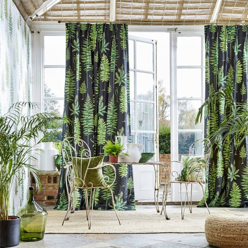 Sanderson Fernery Botanical Green/Charcoal Fabric 226577