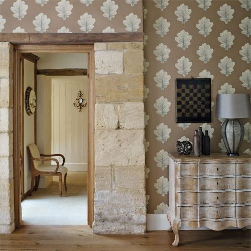 Sanderson Oak Filigree Copper/Graphite Wallpaper 215701