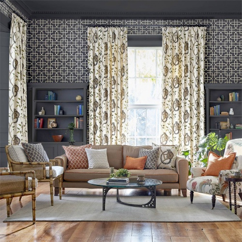 Sanderson Ringtailed Lemur Olive Fabric 226581