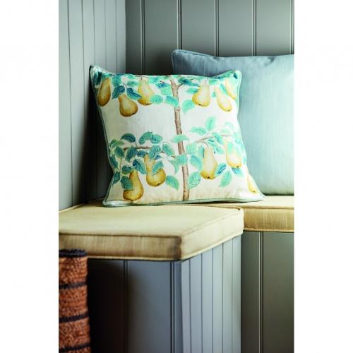 Sanderson Perry Pears Gold/Aqua Fabric 226734