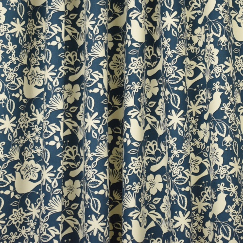 Gordon Smith Shadow Bird Indigo Curtain Fabric