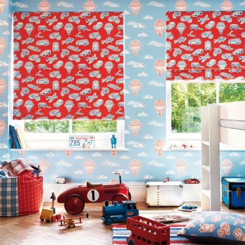 Sanderson Vroom Red & Indigo Fabric 223915