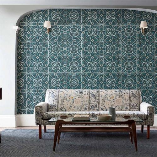Morris & Co Brophy Trellis Sage Linen Wallpaper 216702