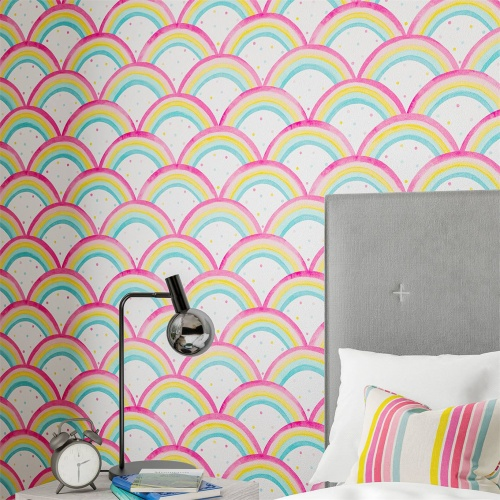 Harlequin Rainbow Brights Cherry/Blossom/Pineapple/Sky Wallpaper 112645