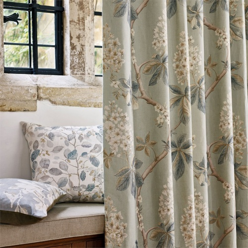 Sanderson Chestnut Tree Grey Blue/Sage Fabric 225513