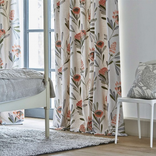 Harlequin Cayo Coral/Silver Curtain Fabric 132640