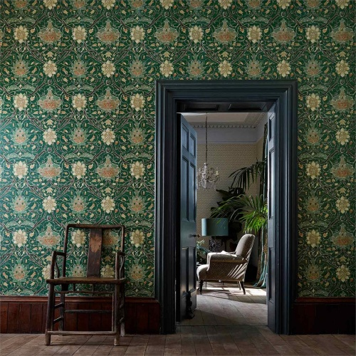 Morris & Co Montreal Forest/Teal Wallpaper 216432