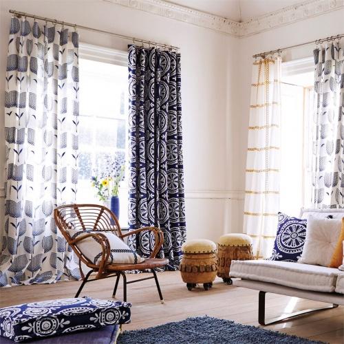Harlequin Cheree Indigo/Chalk Curtain Fabric 131072