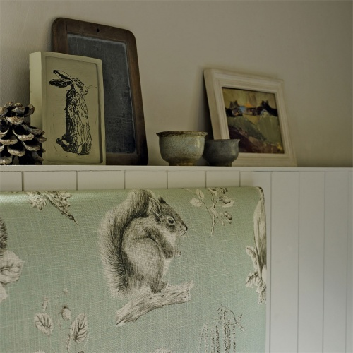 Sanderson Squirrel & Hedgehog Seaspray/Charcoal Fabric 225522