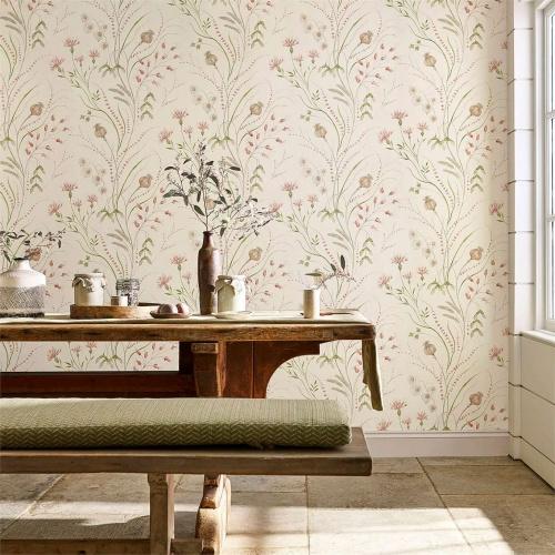 Sanderson Summer Harvest Claret/Olive Wallpaper 216495