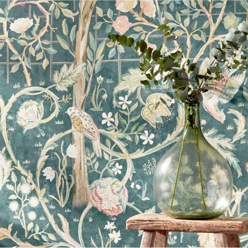 Morris & Co Melsetter Indigo Rose Wallpaper 216706