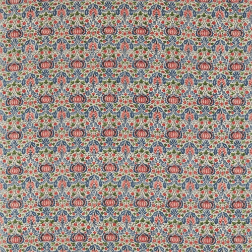 Morris & Co Little Chintz Indigo/Carmine Fabric 226407