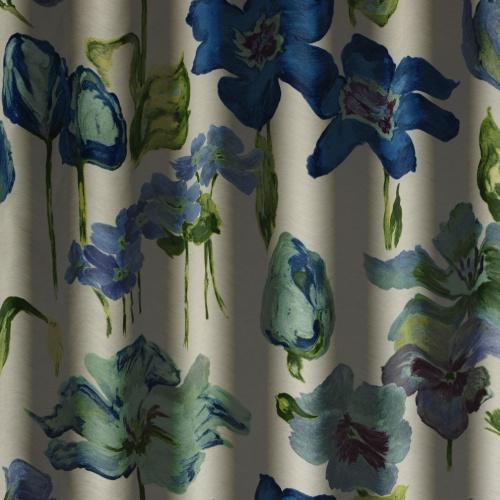 Chess Designs Flora Blue Curtain Fabric