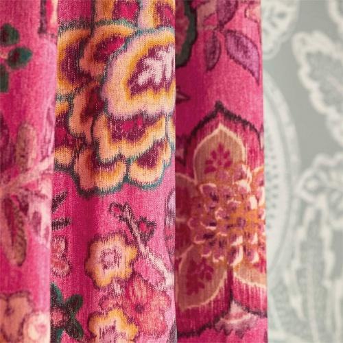 Sanderson Indra Flower Indigo/Cherry Fabric 226639