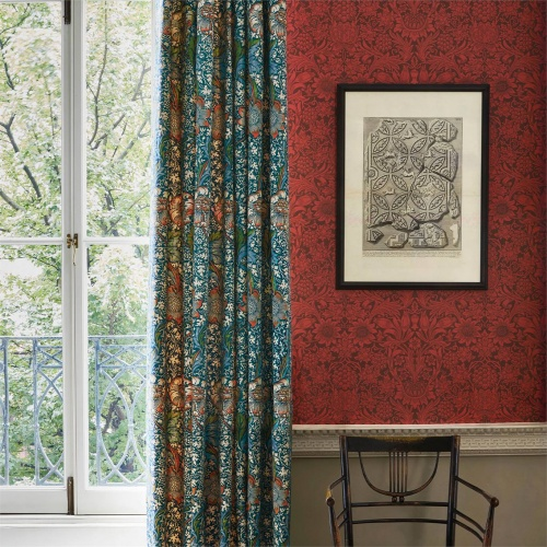 Morris & Co Kennet Aqua/Pink Fabric 226857