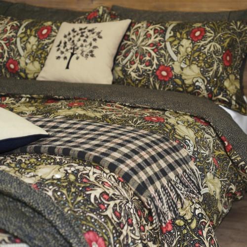 William Morris Seaweed Double Duvet Cover Black