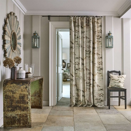 Sanderson Estuary Birds Mist/Ivory Curtain Fabric 226426