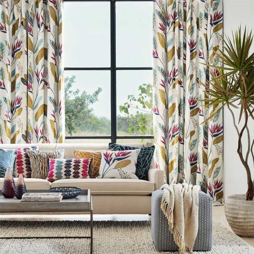 Harlequin Llenya Ink/Coral/Pebble Curtain Fabric 120909