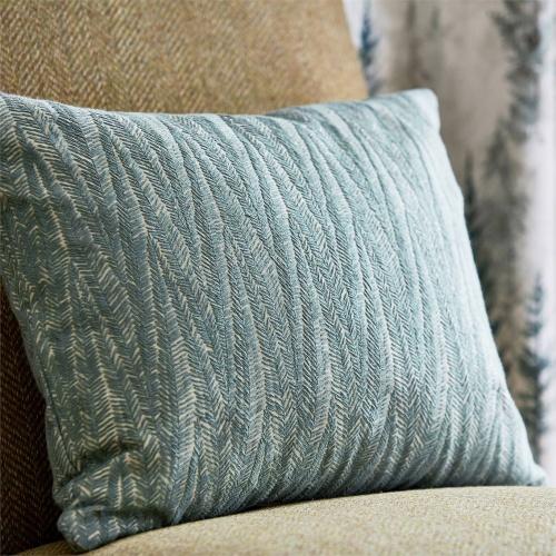 Sanderson Beckett Blue Clay Green Curtain Fabric 236731
