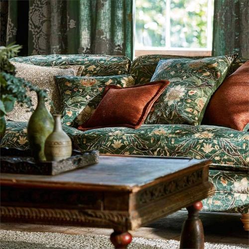 Morris & Co Montreal Velvet Forest/Teal Fabric 226391