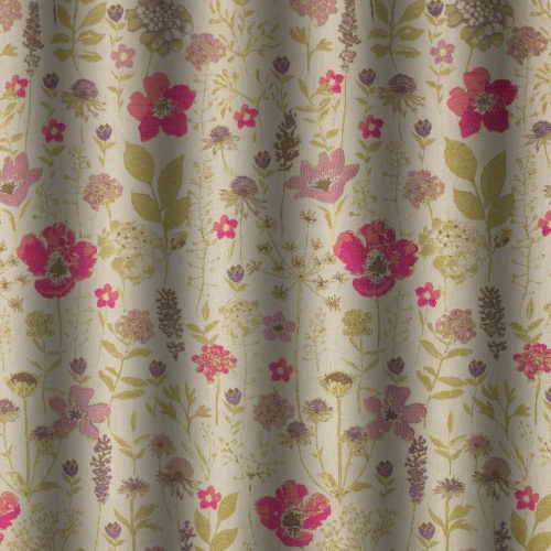 Chess Designs Meadow Fushia Curtain Fabric