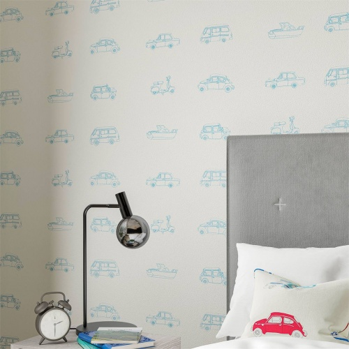Harlequin Go Go Retro Aqua and White Wallpaper 112652