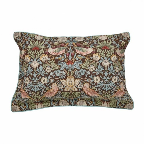 William Morris Strawberry Thief Brown Duvet Cover Double