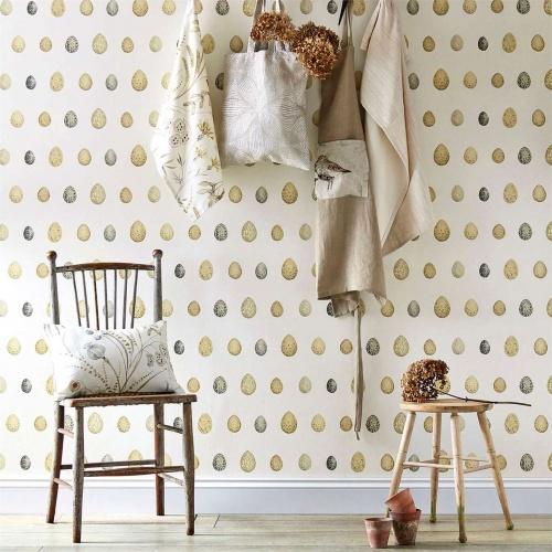 Sanderson Nest Egg Corn Graphite Wallpaper 216505