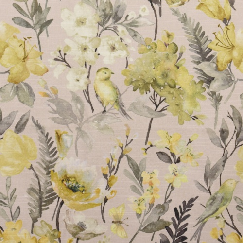Gordon Smith Birdies Yellow Grey Curtain Fabric