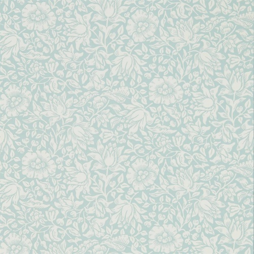 Morris & Co Mallow Chalk Duck Egg Wallpaper 216679