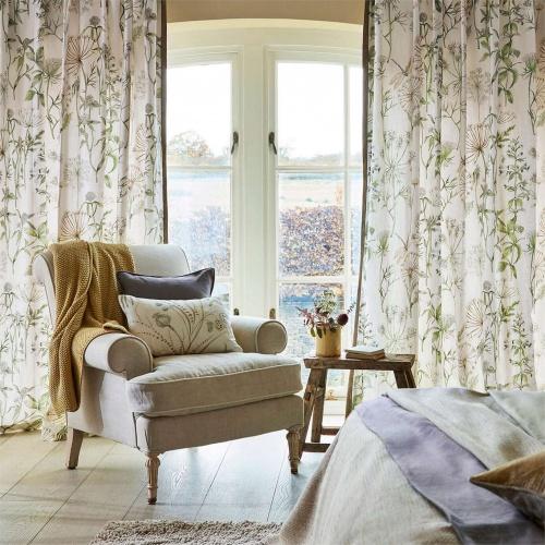Sanderson Wild Angelica Silver/Spring Leaf Curtain Fabric 226437