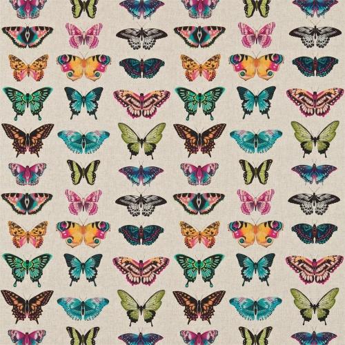 Harlequin Papilio Flamingo/Papaya/Loganberry Curtain Fabric 120344