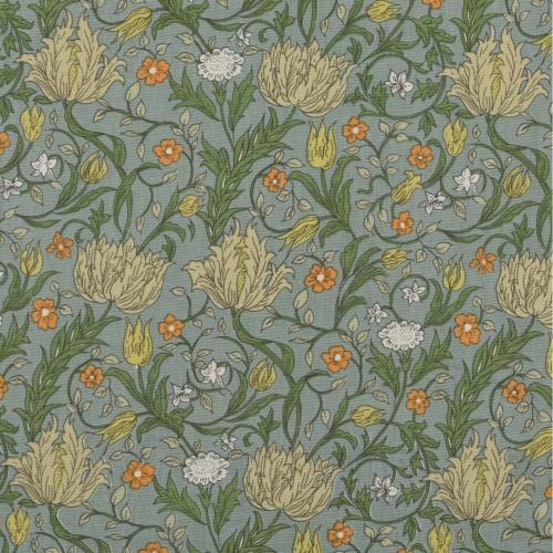 Gordon Smith Wild Tulip Mini Blue/Orange Curtain Fabric