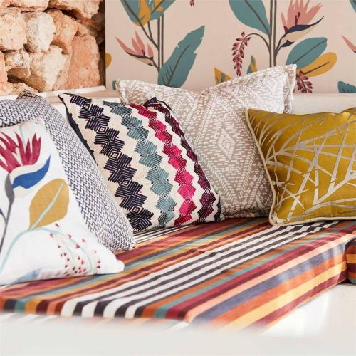 Harlequin Kalimba Seaglass/ Cerise/ Indigo Curtain Fabric 133060