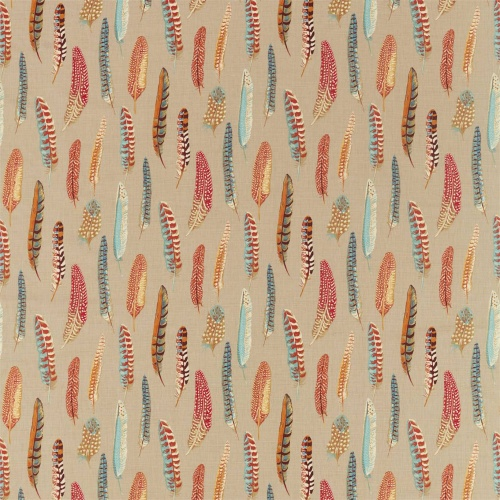 Sanderson Lismore Teal/Russet Curtain Fabric 226522