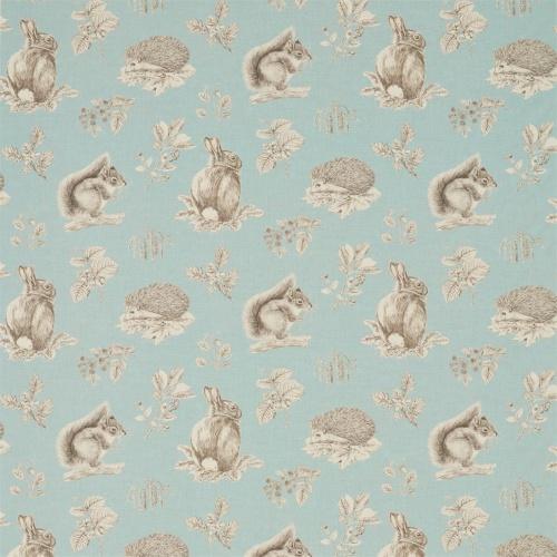 Sanderson Squirrel & Hedgehog Sky Blue/Pebble Fabric 225521