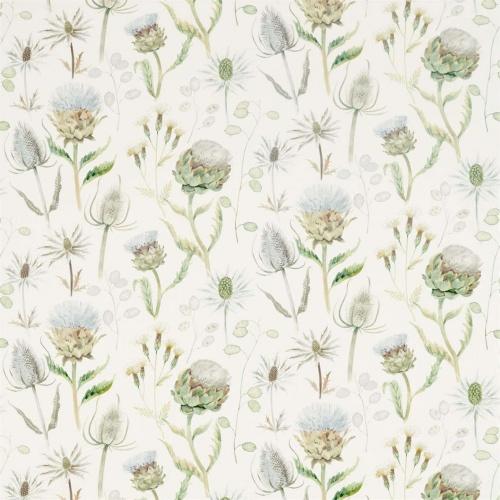 Sanderson Thistle Garden Mist/Pebble Curtain Fabric 226421