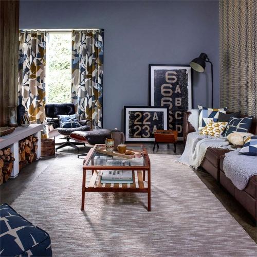 Scion Baja Cinnamon/Slate/Charcoal Blue Curtain Fabric 120725