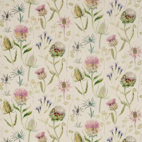 Sanderson Thistle Garden Linen Thistle/Fig Curtain Fabric 226423