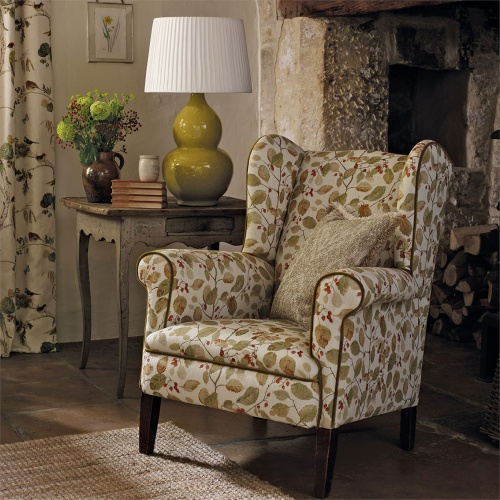 Sanderson Woodland Berries Bayleaf/Fig Fabric 225529