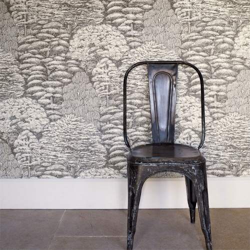 Sanderson Woodland Toile Ivory/Charcoal Wallpaper 215716