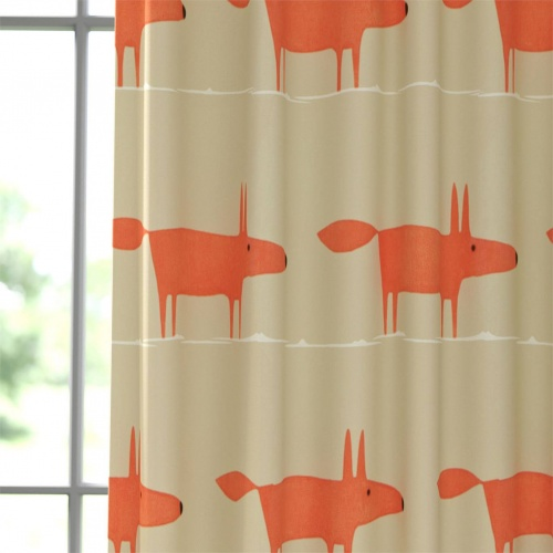 Scion Mr Fox Neutral and Paprika Fabric 120922