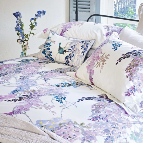 Sanderson Wisteria Falls King Duvet Cover Lilac