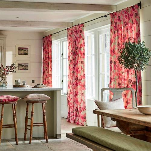 Sanderson Embleton Claret/Linen Curtain Fabric 226429