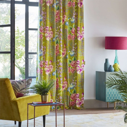 Harlequin Amaryllis Coral/Lagoon/Ochre Curtain Fabric 120735