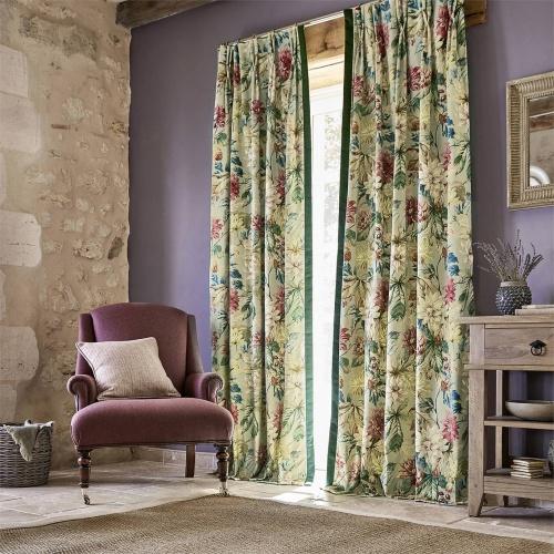 Sanderson Dahlia & Rosehip Velvet Mulberry/Grey Curtain Fabric 226532