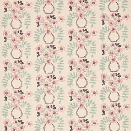 Sanderson Home Flower Pot Coral/Celadon Curtain Fabric 235877
