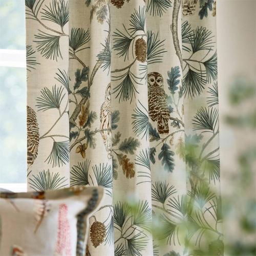 Sanderson Owlswick Teal Curtain Fabric 226524