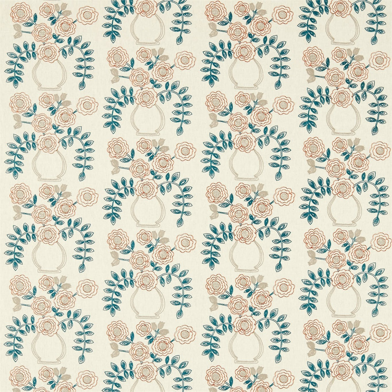 Image of Sanderson Home Flower Pot Brick Curtain Fabric 235876